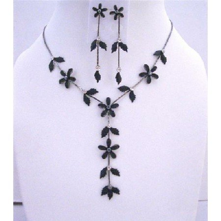 NS254  Black Jewelry Set Floral - Leaf Embedded w/ CZ Y Shaped Necklace Set