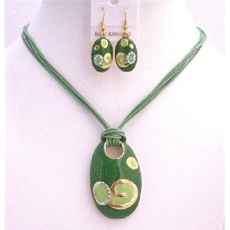 NS492 Enamel Multi Strand Green Pendant w/ Paint Designed Pendant Necklace Set