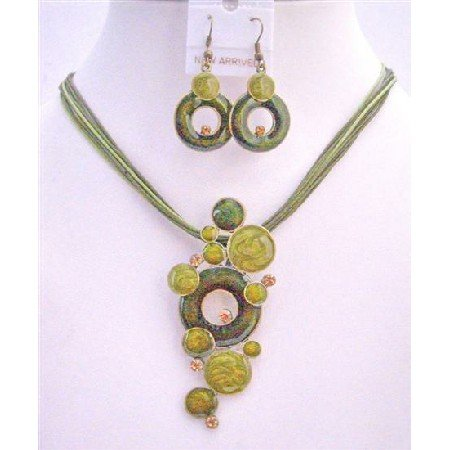 NS209  Green Jewelry Set w/ Olive Rhinestones Multi Strands Olive Green Necklace Set