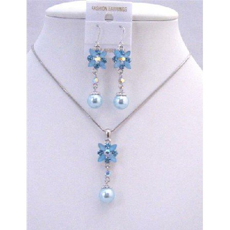 NS493 Blue Enamel Flower And Rhinestones w/ Cute Flower Pearls Dangling Necklace Set