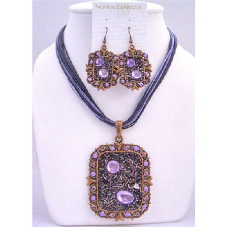 NS410  Fabulous Sequare Copper Pendant Jewelry Set & Simulated Crystals Necklace & Earring