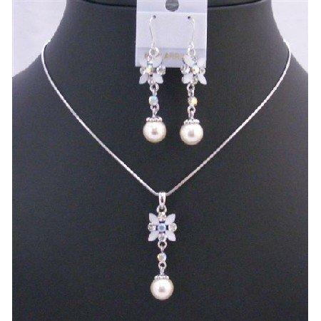 NS201  White Enamel Flower Necklace Set w/ Pearls Dangling Set Beautiful Jewelry