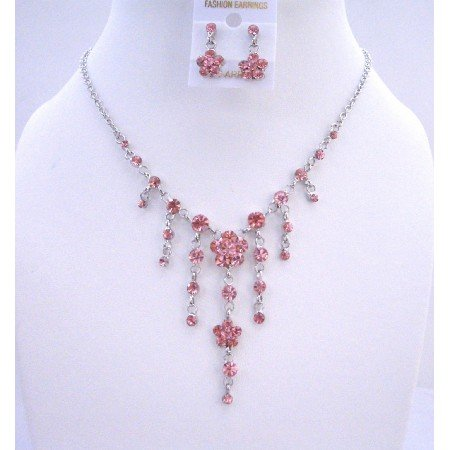 NS302  Fuschia - Bright Pink Crystals Designer Gorgeous Pink Y Necklace Earrings