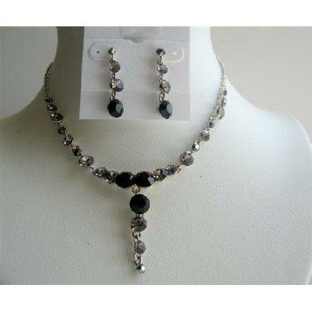 NS299  Vintage Necklace Set Artform Jet & Black Diamond Crystals Necklace Set