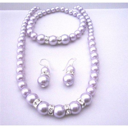 NS560  Lavender Pearls Jewelry Set Sterling Silver 92.5 Earrings w/ Stretchable Bracelet