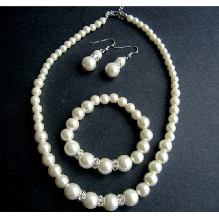 NS525 Cream Pearls Bridemaides Jewelry Set Sterling Silver 92.5 Earrings w/ Stretchable Bracelet