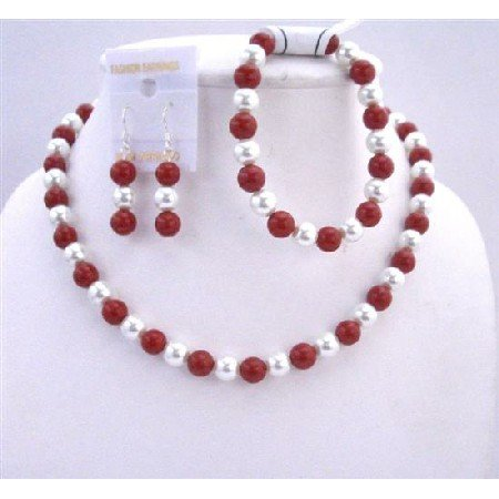 NS149  Coral Round Beads w/ Simulated White Pearls Necklace Set & Stretchable Bracelet