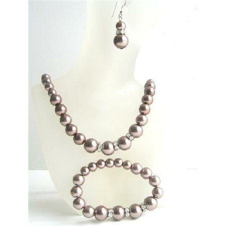 NS523  Bronze Brown Pearls Necklace Sterling Earring w/ Stretchable Bracelet