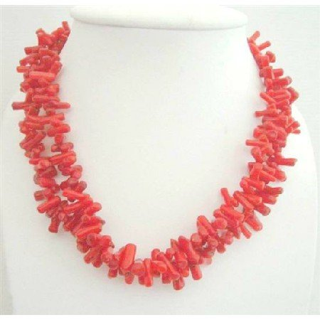 N624  Double Strands Coral Tube Beads Stranded Necklace Sterling Silver Clasp