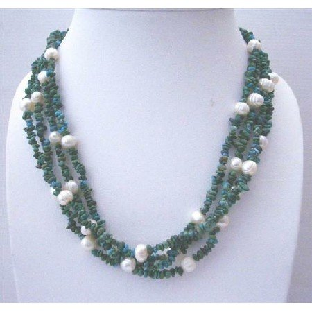 N626  Handcrafted Tibetan Turquoise 4 Strands Necklace w/ Sterling Silver Clasp
