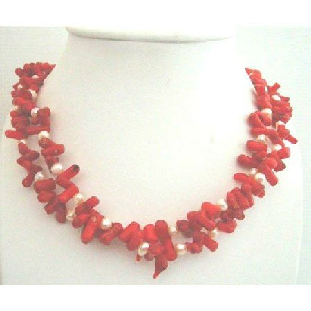 N623  Genuine Coral Tube w/ Freshwater Pearls Double Stranded Necklace Sterling Silver Clasp