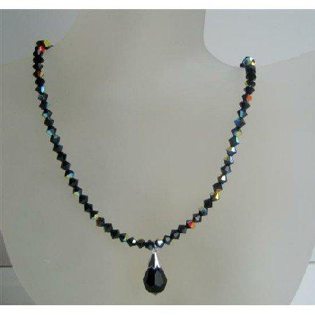 N529 Jet Black Swarovski Crystals Beaded Jewelry AB Jet Sparkling Crystals Necklace w/ Tear Drop