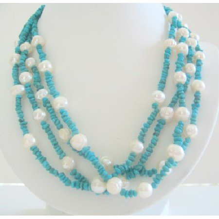 N503  Sterling Silver Genuine Turquoise & Freshwater Multi Strands Necklace