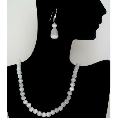NS449  Soothing White Cat Eye Handcrafted Jewelry w/ Tear Drop Sterling Silver Earrings