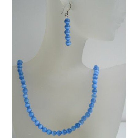 NS466  Sterling Silver 6mm Blue Cat Eye Stone Bead Beaded Dangle Hook Earrings Necklace Jewelry Set