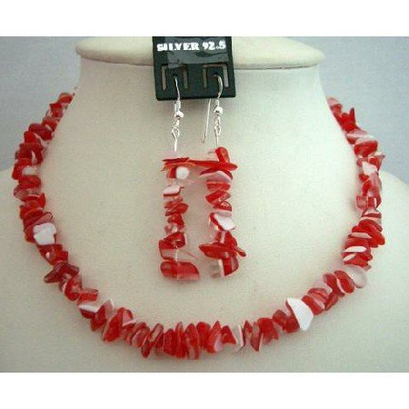 NS374  Handcrafted Red & White Stone Chip Necklace w/ Genuine Sterling Silver Earrings