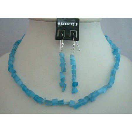 NS358  Blue Turquoise Collection Tuquoise Nugget Necklace Set w/ Sterling Silver Earrings