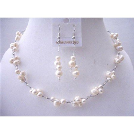 NS553  Freshwater Pearls Choker Set Bridemaides Interwoven Wire Necklace Set w/ Dangling Earrings