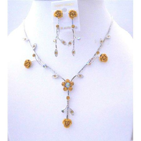 NS548  Topaz Crystals Flower Jewelry Set Drop Y Shaped Crystals Enamel Flower Necklace Set