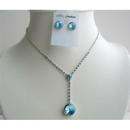 NS432  Blue Crystals Vingtage Necklace Sets Crystals Stud Dangling Jewelry Set