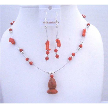 NS305  Coral Red Bead Necklace Set w/ Coral Pendant Double Stranded Wire Necklace Set