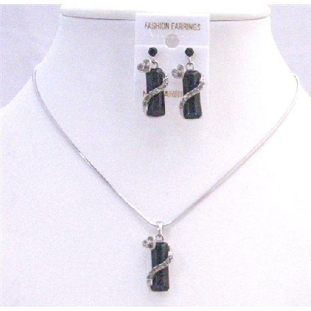 NS426  Vintage Black Drop Down Crystals w/ Simulated Crystals Necklace Set