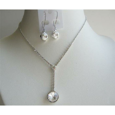 NS476  Bridal Bridemaids Clear Simulated Crystals Necklace Set Jewelry