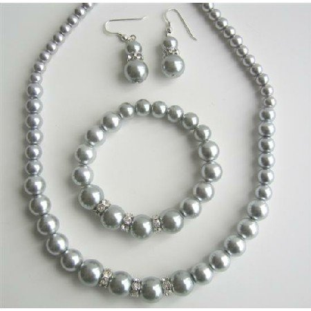 NS527 Pearls Jewelry Set Grey Pearls Necklace Sterling Silver Earring w/ Stretchable Bracelet