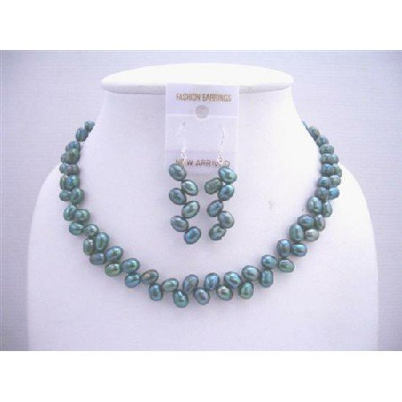 NS438 Metallic Freshwater Rice Pearls Dyed Turquoise Green Necklace & Sterling Silver Earrings