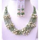 NS558  White Freshwater Pearls Green Glass Beads Jewelry Set Multi Stranded Necklace & Earrings