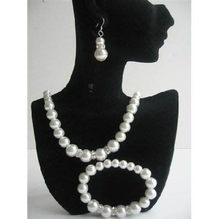 NS529 White Simulated Pearls Necklace Sterling Silver Earring w/ Stretchable Bracelet