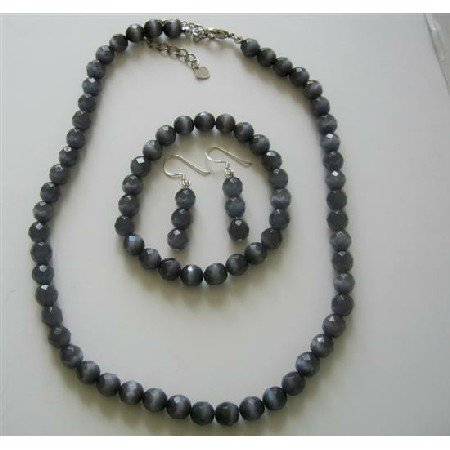 NS475 Black Cats Eye Stone Bead Beaded Dangle Hook Earrings Stretch Bracelet Necklace Jewelry Set