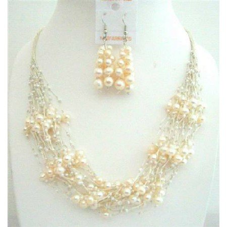 NS546  FresshWater Pearls Milky Glass Beads Jewelry Sets Multi Silver strands Necklace w/ Earrings