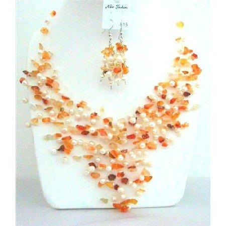 NS544  Carnelian Stone Nugget FresshWater Pearls Genuine Carnelian & Freshwater Pearls w/ Earrings