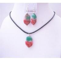 NS563  Fancy Agate Stone Oval Pendant & Earrings Sets w/ Black Chord Velvet Jewelry Set