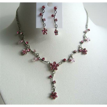 NS500  Pink Jewelry Set Pink Rhinestones Necklace Set w/ Enamel And Cute Flower Danglng Necklace