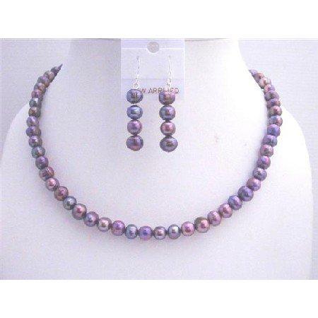 NS297  Freshwater Pearls Jewelry Set Metallic Purple Freshwater Pearls Necklace Set