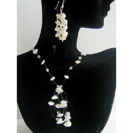 NS484  Opal Stone Chip & Clear Crystals Necklace Set w/ Tassel Drop Handmade w/ Sterling Earrings