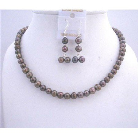 NS542  Brown Freshwater Pearls Jewelry Set Metallic Brown Purplish Freshwater Pearls Necklace Set
