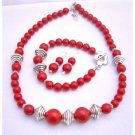 NS602  Traditional Coral Jewelry Set Necklace Earrings & Bracelet Bali Silver Spacer Coral Jewelry