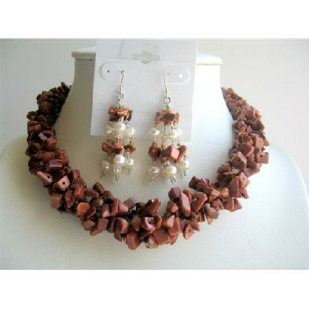 NS284 Jasper Stone Nuggets Necklace w/ Sterling Silver Earrings Freshwater Pearls Jewelry Sets
