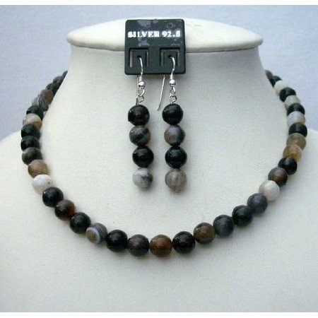 NS418  Genuine Black Agate Bead Necklace 8mm Sterling Silver Earing Custom Jewelry