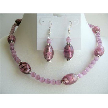 NS219  Amethyst Faceted Cat Eye Beads Necklace Set w/ Millefiori Glass Beads