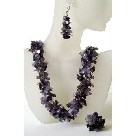 NS413  Genuine Amethyst Stone Chips Handcrafte Necklace Earrings & Rings