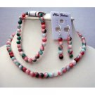 NS387  Handcrafted Simulated Fancy Agate Bead Necklace Stretchable Bracelet & Sterling Earrings