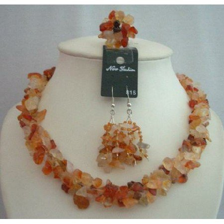 NS362  Handcrafted Carnelian Stone Chip Necklace Sets With Ring (BRAND NEW)