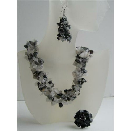 NS531  Black Onyx & White Opal Nugget Stone Chips Handcrafte Necklace Earrings & Rings