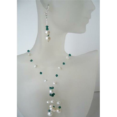 NS513  Potato Freshwater Pearls Swarovski Erinite Crystals Necklace Set w/ Tassel Jewelry Set