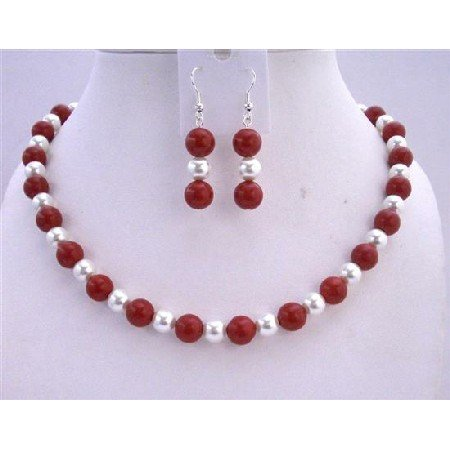 NS433  White Pearls & Coral Red Beads Necklace Set Sterling Silver Earrings