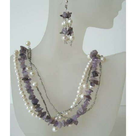 NS414  Multi String Freshwater Pearls & Genuine Amethyst Stone Chips Handcrafted Necklace Earrings